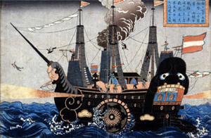 Contemporary woodcut of Perry's steamship entering Japanese waters.  Western technology would soon transform Japan.
