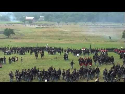 Pickett's Charge, disastrous for the South, as re-enacted at the Battle of Gettysburg's 145th anniversary.