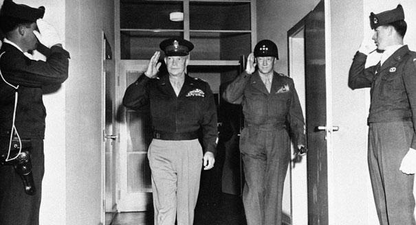 Eisenhower and Patton, close friends with very different styles of leadership