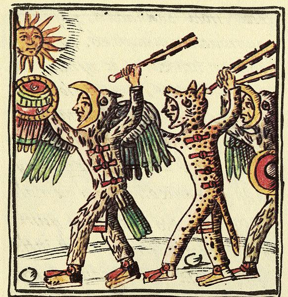 Aztec warriors brandishing clubs with obsidian blades  Wikimedia Commons: Field Museum