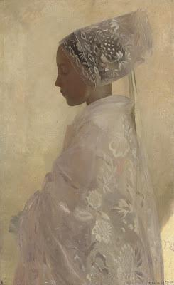 A Maiden in Contemplation, Gaston La Touche (1898) - An image of purity in a woman.