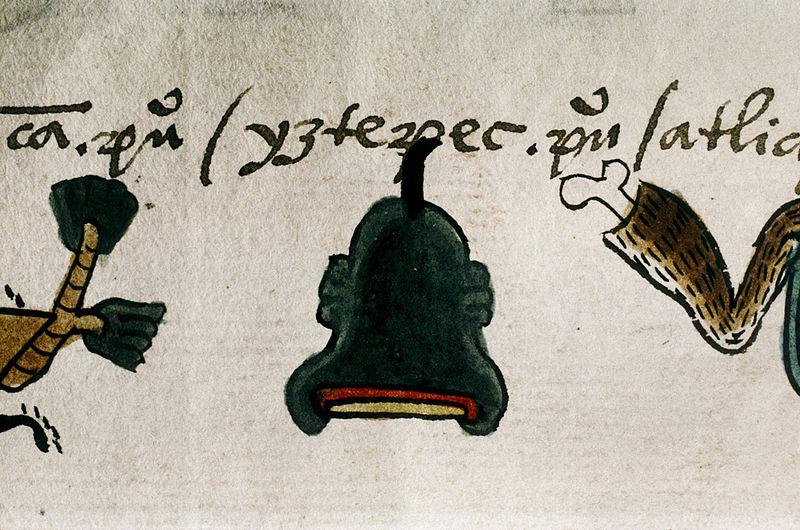 Detail of folio 23r from the Codex Mendoza. Tribute from towns of the Province of Quauhnahuac: name-glyph of 'Yztepec. pueblo'. The name means 'On the Hill of Obsidian', and the town's glyph is an obsidian blade on top of a hill.  The Bodleian Library Oxford University